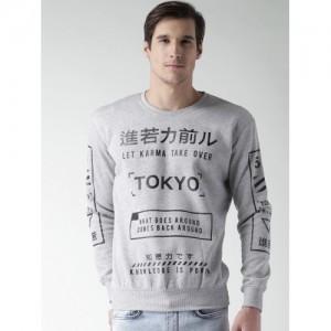 ALCOTT Men Grey Melange Printed Sweatshirt