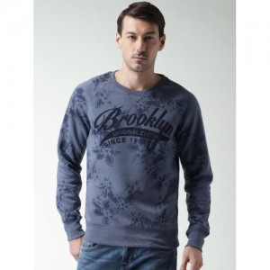 ALCOTT Men Blue Printed Sweatshirt