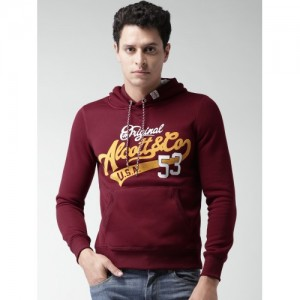 ALCOTT Maroon Printed Hooded Sweatshirt