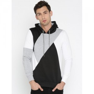 ALCOTT Black & White Colourblock Hooded Sweatshirt