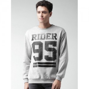 ALCOTT Grey Melange Printed Sweatshirt