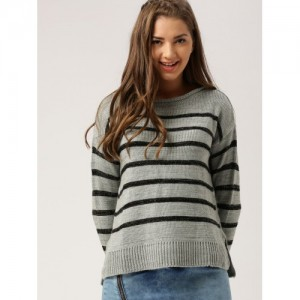 c13f27642f9 DressBerry Women Grey   Black Striped Pullover