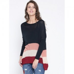ONLY Women Navy Blue & Peach-Coloured Striped Sweater
