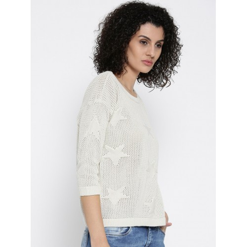 ONLY Women Off-White Star Pattern Sweater