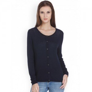 ONLY Women Navy Blue Solid Cardigan