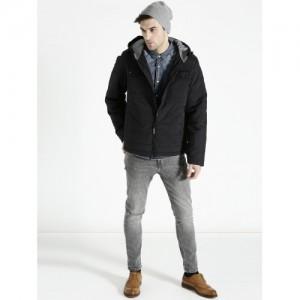 s.Oliver Men Black Solid Hooded Padded Jacket