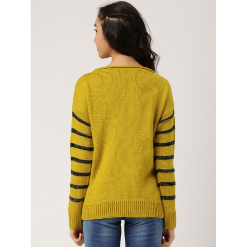 DressBerry Women Mustard Yellow Striped Pullover