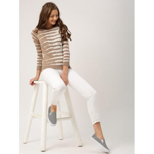 DressBerry Women Beige & Off-White Self Design Pullover