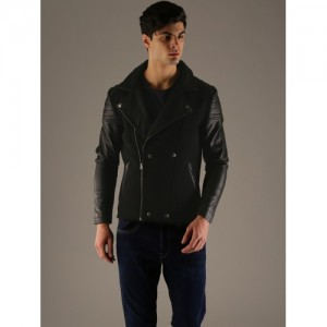 Flying Machine Men Black Solid Tailored Jacket
