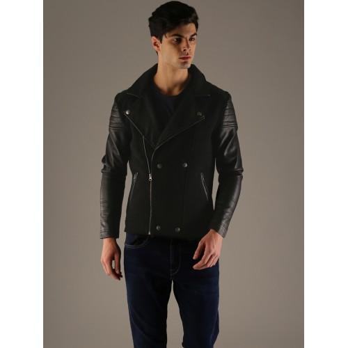 Flying Machine Men Black Solid Tailored Jacket