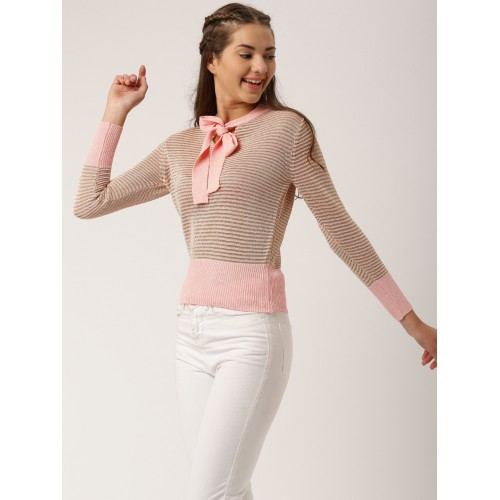 89258c542c Buy DressBerry Women Pink   Gold-Toned Striped Pullover online ...