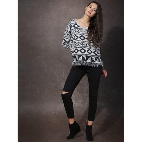Roadster Women Grey & Navy Patterned Sweater