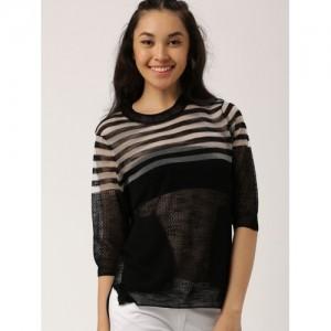 DressBerry Women Black Striped Pullover