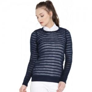 DressBerry Women Navy Solid Open Knit Sweater