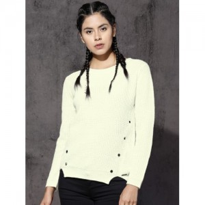 Roadster Women White Self Design Pullover