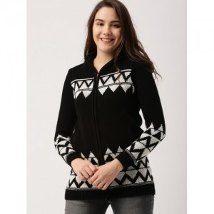 DressBerry Women Black & White Self Design Cardigan