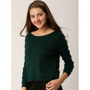DressBerry Women Green Self-Design Pullover Sweater