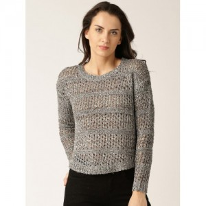 DressBerry Grey Open-Knit Sweater with Sequins