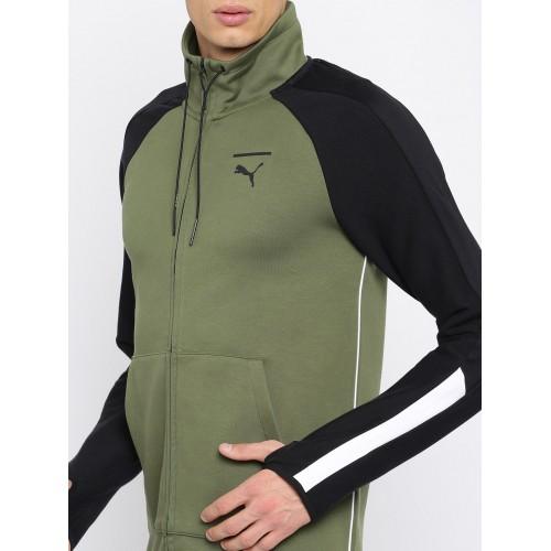 f141cb41e77e Buy Puma Men Olive Green Solid Evo T7 Sporty Jacket online