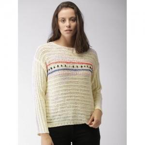 Mast & Harbour Women Cream-Coloured Self-Design Pullover