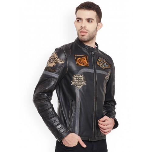 411ab2f30 Buy Justanned Roadies Men Black Solid Leather Biker Jacket online ...