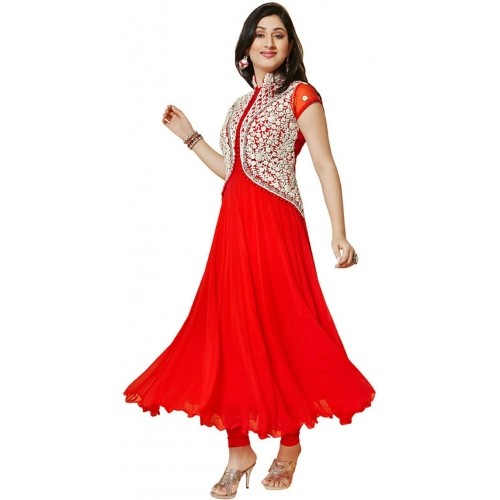 Sky Global Red Solid Faux Georgette Embroidered Salwar Suit