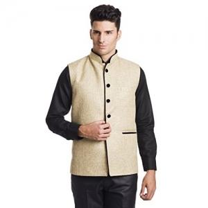 Wintage Beige Solid Rayon Festive Nehru Jacket