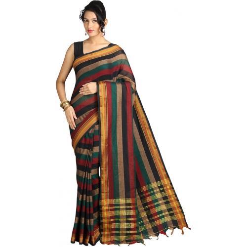 Pavechas Striped Mangalagiri Cotton Sari
