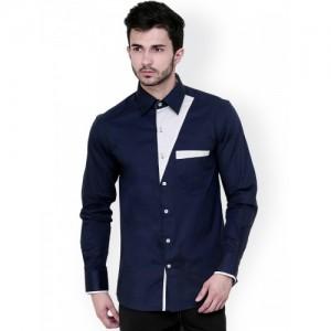 Dazzio Navy Blue Solid Cotton Shirt For Men
