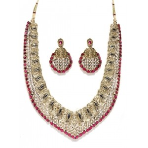 Zaveri Pearls Ruby Antique Necklace Set For Women