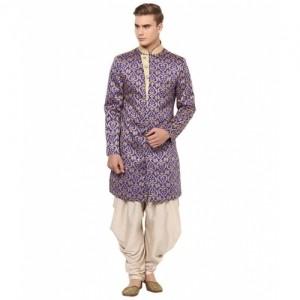 Yepme Blue & Beige Cotton Silk Sherwani Suit