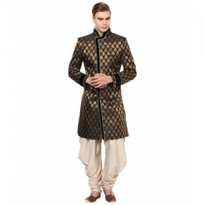 Yepme Black & Beige Abbott Cotton Blend Sherwani Suit