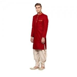 Yepme Red & Beige Abner Cotton Blend Sherwani Suit