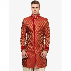 Yepme Red Printed Weddingwear Sherwani