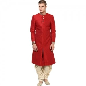 Yepme Red Silk Solid Sherwani