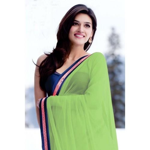 Buy Kriti Sanon Parrot Green Saree Online Looksgud In