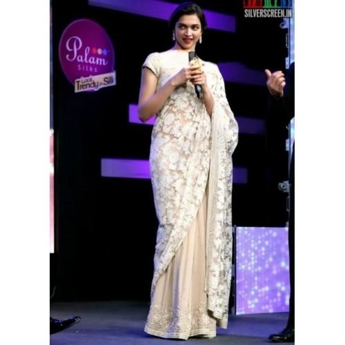e918458f648f67 Buy Bollywood Style Deepika Padukone Net Saree In Cream Colour ...