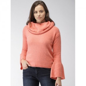 Mast & Harbour Women Peach-Coloured Solid Pullover