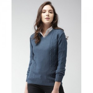 Mast & Harbour Women Blue Self Design Pullover