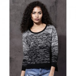 Roadster Women Black & Grey Self Design Pullover