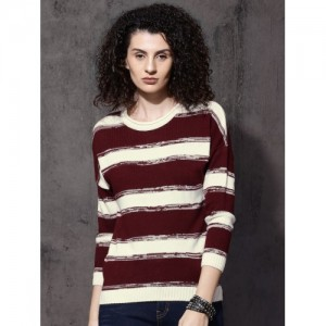 Roadster Women White & Maroon Striped Pullover