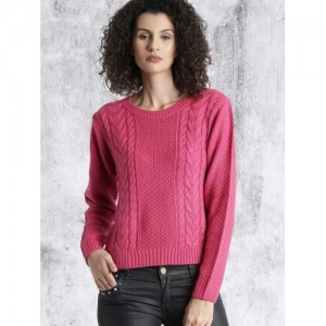 Roadster Women Pink Self-Design Pullover