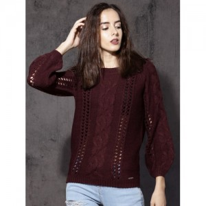 Roadster Women Burgundy Self Design Pullover