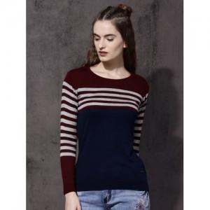 Roadster Women Maroon & Navy Striped Sweater