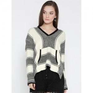 FOREVER 21 Off-White & Black Self-Design Hooded Sweater