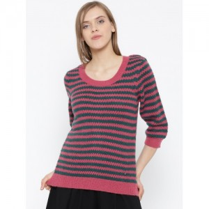 United Colors of Benetton Women Pink Patterned Sweater