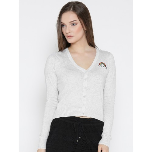 FOREVER 21 Women Grey Melange Solid Cardigan