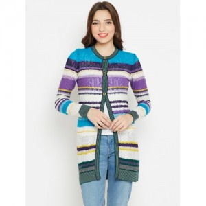 Monte Carlo Women Off-White & Purple Striped Longline Cardigan