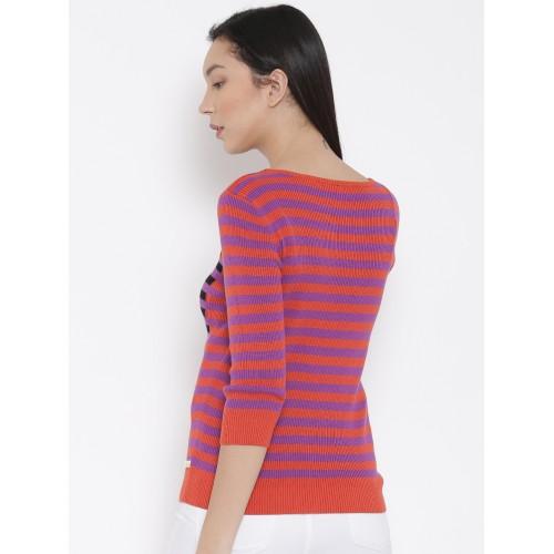 518ce24212 Buy United Colors of Benetton Women Orange Striped Sweater online ...