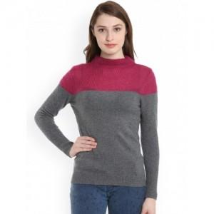 United Colors of Benetton Women Grey & Maroon Colourblocked Pullover